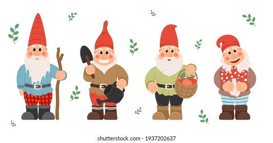 Collection of garden gnomes or dwarfs holding lantern, banner, mushroom, watering can. fairy tale gnomes with lanterns and garden tools in hats colorful cartoon vector set