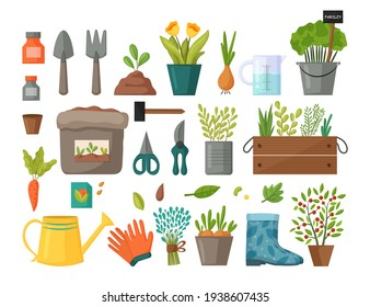 Collection of garden tools and plants. Gardening or horticulture concept. Design elements for print, packaging or stickers. Vector illustration.