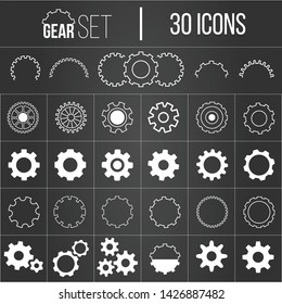 Collection of gearwheel mechanism icon set. Vector illustration isolated on white.