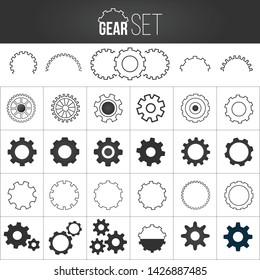 Collection of gearwheel mechanism icon set. Vector illustration isolated on white background.