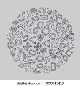 Collection of gems and gemstones. Types of diamond and topaz cutting. A set of jewels. Jewelry, jewelery and precious stones. Isolated Vector Illustration.
