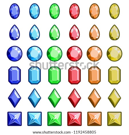 Collection Gems Gemstones Types Diamond Cutting Stock Vector