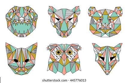 Collection of Geometric Animals Illustration