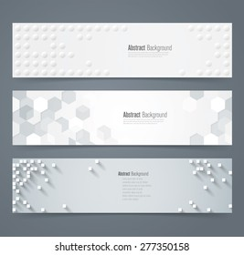 Collection of geometric background banner. Can be used in website, magazine or advertising. White and gray background.