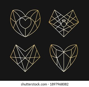 Collection of geometric golden heart shape. Vector illustration set of poligonal line gold heart logo design. Love symbol. Linear icon. Valentine's day or wedding invitation, Valentines day element