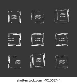 Collection of geometric hand drawn frames logo with place for tex.Business design elements,Signs,Logos,Labels,Hang tags,Menu.Trendy watercolor icons and logotypes.Vector illustration.Isolated on black
