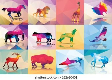 Collection of geometric polygon animals, horse, lion, giraffe, butterfly, elephant, leopard, wolf, eagle, deer, buffalo, shark, vector illustration