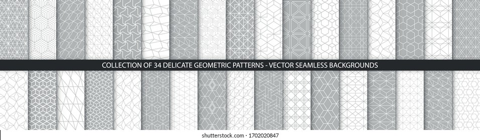 Collection of geometric seamless patterns. Abstract geometric hexagonal textures. Seamless vector monochrome backgrounds.