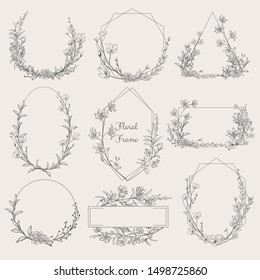 Collection of geometric vector floral frames. Round, oval, triangle, square Borders decorated with hand drawn delicate flowers, branches, leaves, blossom. illustration