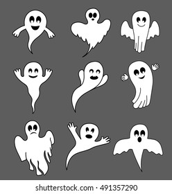 collection of ghosts in different angles and with different emotions