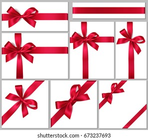 Collection of gift box with red bow and ribbon. Vector bows