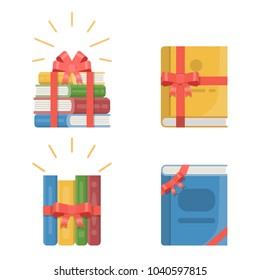 Collection gifts of stacked books with red ribbon and bow. Concept vector illustrations in flat style.