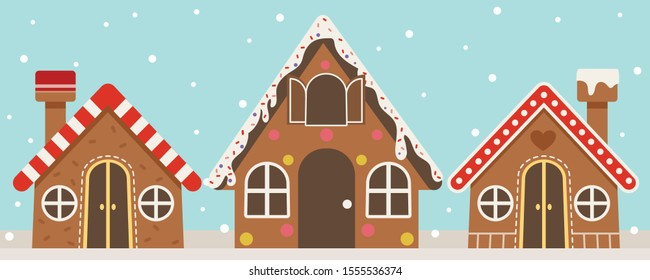 The collection of gingerbread House on the blue background with snow fall. The gingerbread House in many shape design. The gingerbread House in flat vector style.