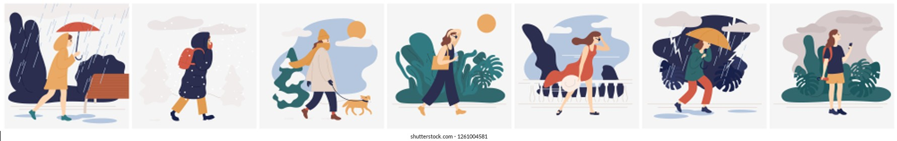 Collection of girl in various weather conditions. Bundle of young woman wearing seasonal clothes and walking on street in rain, snowfall, summer heat. Colorful vector illustration in flat style.