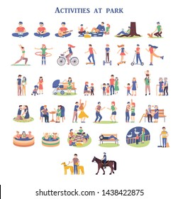 Collection of girls and boys performing leisure activities at park. Family, friends and lovers relaxing outside. Summer entertainment. Bundle of recreation outdoor. Flat cartoon vector illustration