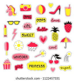 Collection of girly pop stickers, patches, pins in pink and yellow colors isolated on white background.