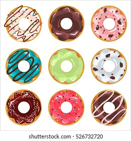 Collection of glazed colored donuts vector with icing sprinkles. Donut set with sprinkles isolated, tasty cream dough nut. Pastry snack cake breakfast donut food bakery sugar chocolate delicious.