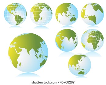 collection of globe with background, vector illustration
