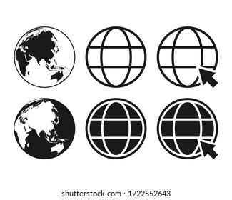 collection of globe icon symbol, go to web icon vector illustration color editable isolated on blank background