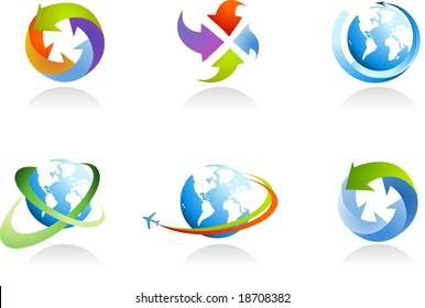 collection of globe icons - for more logos of this type please visit my gallery