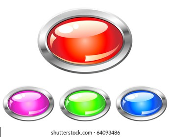 Collection of glossy buttons in various colors
