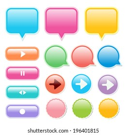 Collection of glossy, glowing web buttons and icons, in bright, Play, Pause, Stop