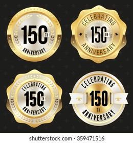 Collection of glossy gold 150th anniversary badges