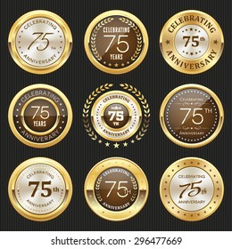 Collection of glossy gold 75th anniversary badge