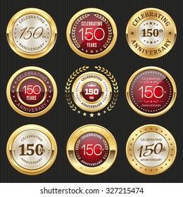 Collection of glossy gold and red 150th anniversary badges