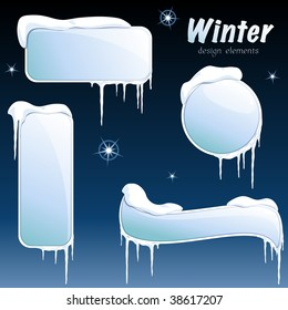 Collection of glossy winter banners (vector); a JPG version is also available