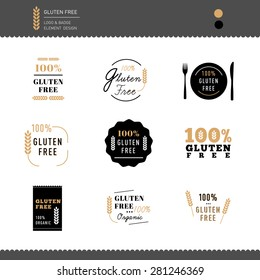 Collection of Gluten Free Icon logo vector design