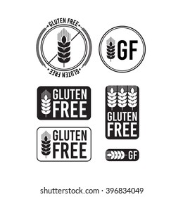 Collection gluten free seals. Various colorful designs, can be used as stamps, seals, badges, for packaging etc.