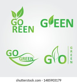 Collection of go green logos with leaves