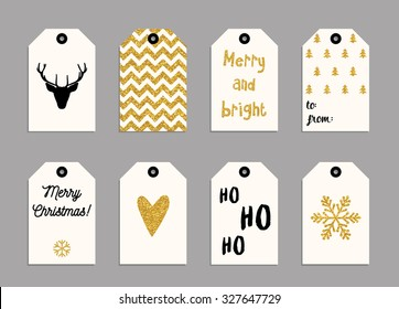 Collection of gold texture Christmas and New Year cute ready-to-use gift tags