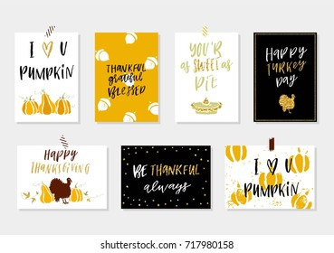 Collection of gold texture Thanksgiving day cute ready-to-use gift cards -  vector illustration