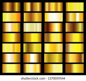 Collection of golden metallic gradient. Vector illustration.