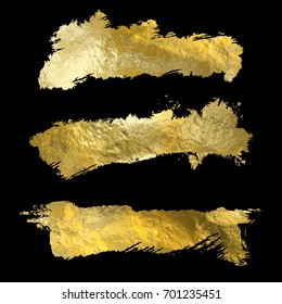 Collection of golden paint strokes on black. Make a background for your design, golden hot foil, gold leaf