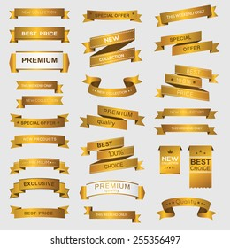 Collection of golden premium promo banners. isolated vector illustration