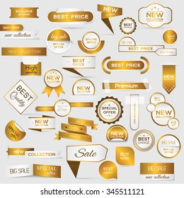 Collection of golden premium promo seals/stickers. isolated vector illustration
