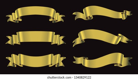 Collection of golden ribbons.Ribbon banner set.