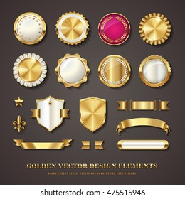 collection of golden vector design elements - blank seals, medals, shields / coats of arms, badges, banners, ribbons, scrolls and ornaments with transparent shadows