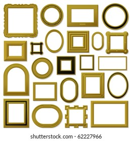 Collection of golden vintage picture frames - vector