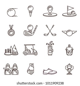 Collection of golf equipment icons and symbols in flat outline design: golfball, tee, hole, course, cart, bag, golfer, cup, bag, club, shoe, glove, medal.  Set of golfing game line signs and elements.