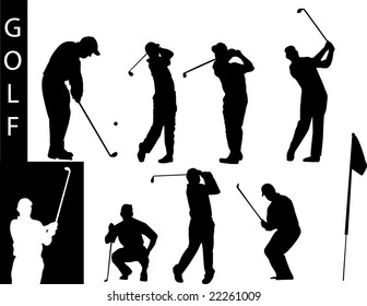 A collection of Golf silhouettes-Check out my portfolio for other collections.