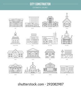 Collection of goverment building icons made in modern line style. Vector city elements for map, web or application. City constructor series.