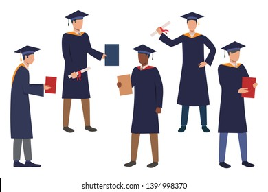 Collection of graduating law school students. Flat cartoon characters wearing gowns and caps for graduation ceremony. Vector illustration can be used for promo video, presentation, poster