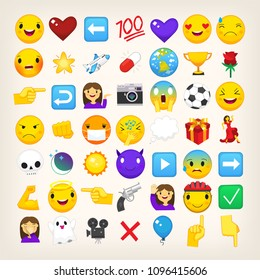 Collection of graphic emoticons, signs and symbols used in online chats. Cartoon style vector icons. Cute and funny characters and emojis. List of popular emoticons. Find more in my portfolio