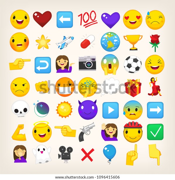 Collection Graphic Emoticons Signs Symbols Used Stock Vector