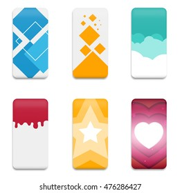 Collection graphics covers for mobile phone. Template case or sticker for technology device. Mockup for branding, advertising, business and corporate identity. Vector illustration