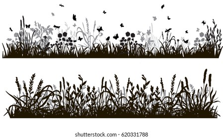 collection of grass silhouettes and plants